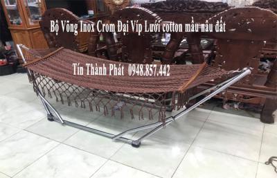 Bộ Võng Xếp Inox Crom Đại Víp Lưới Mầu Nầu