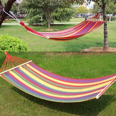 Canvas Double Spreader Bar Hammock Outdoor Garden Swing Hang BedColorful (Intl)