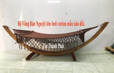Võng Gỗ Bán Nguyệt Lớn Lưới Cotton Mầu Nâu